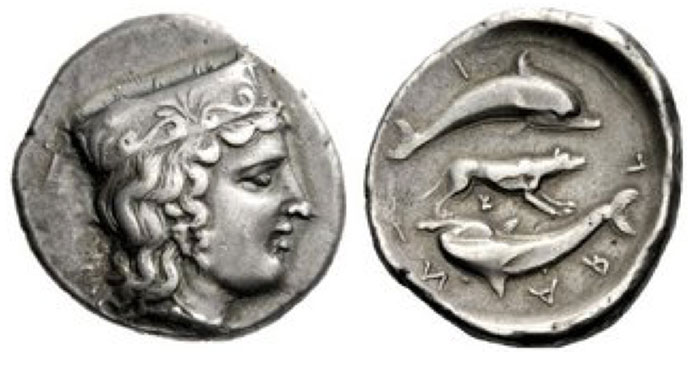 Argos Stater circa 370-350, AR 12.13 g. Head of Hera r., wearing stephane decorated with palmette. Rev. Α − Ρ − Γ?−?Ι?− ΩΝ ??Two dolphins swimming in circle; between them, wolf to r. and below, small K. Locker-Lampson 238 (this coin). Pozzi 1897 (this coin). BCD Peloponnesos 1062 (this coin). Extremely rare and among the finest if not the finest tetradrachm of Argos in existence.