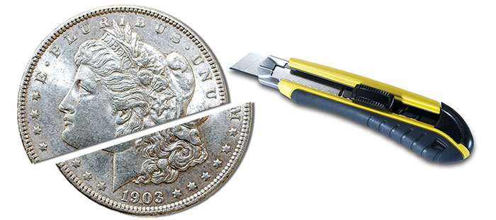Boxcutters can scratch coins causing damage