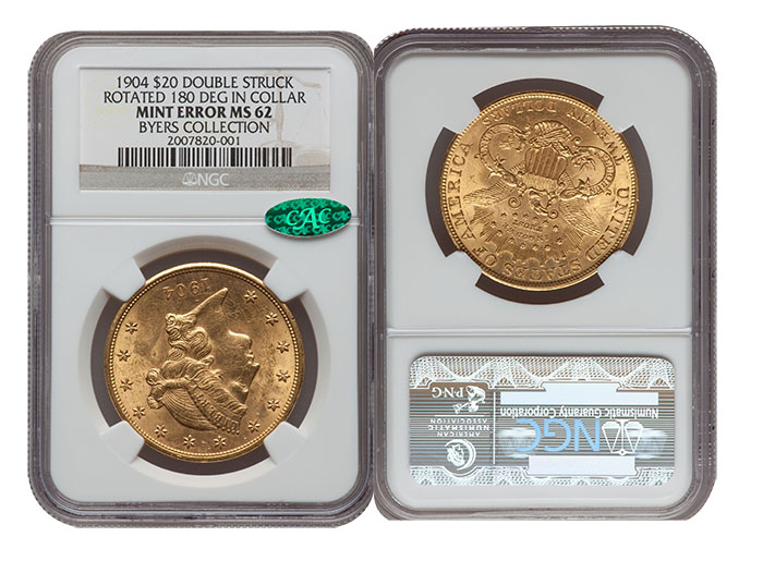 Mike Byers Mint Error News - Unique Rotated Double Struck 1904 $20 Gold Coin
