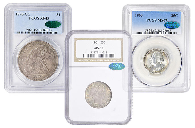 1870-CC Trade Dollar. XF-45 (PCGS). CAC; 1901 Barber Quarter. MS-65 (NGC). CAC; 1963 Washington Quarter MS-67 (PCGS). CAC. All Imaged by GreatCollections.