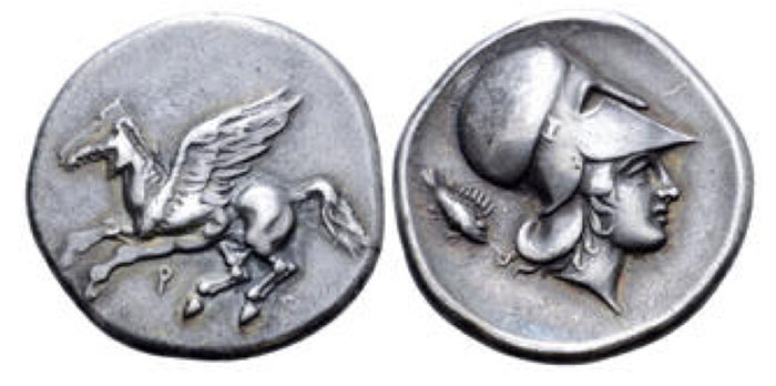 Corinth AR Stater. Circa 400-375 BCE. Pegasos flying left, Q below / Helmeted head of Athena right, scorpion fish to left. Ravel 603; Pegasi 158; BCD Corinth –; HGC 4, 1833. 8.41g, 23mm, 9h.