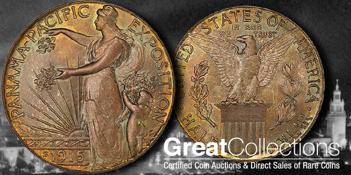 PCGS MS67+ 1915-S Panama-Pacific Commemorative Half Dollar at GreatCollections.com