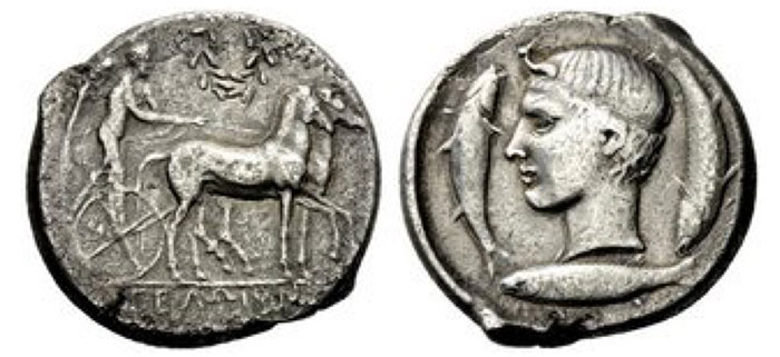 Gela Tetradrachm circa 425, AR 16.89 g. Slow quadriga driven r. by Nike, holding reins and kentron with both hands; in field above, laurel-wreath. In exergue, ΓEΛΩION Rev. Youthful head of the river-god Gelas, short hair bound with diadem; three fishes swimming clockwise around. Rizzo pl. 18, 6 (these dies). AMB 286 (these dies). Kraay-Hirmer pl. 58, 164 (these dies). Jenkins 456.