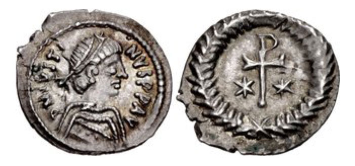 AR Third or Half Siliqua (12mm, 0.75 g, 6h). Ravenna mint. Struck 567-572. D N IVSTI-NVS P P AV, diademed and draped bust right / Staurogram set on small globus; stars flanking; all within wreath. DOC 215 var. (obv. legend); MIBE 41.
