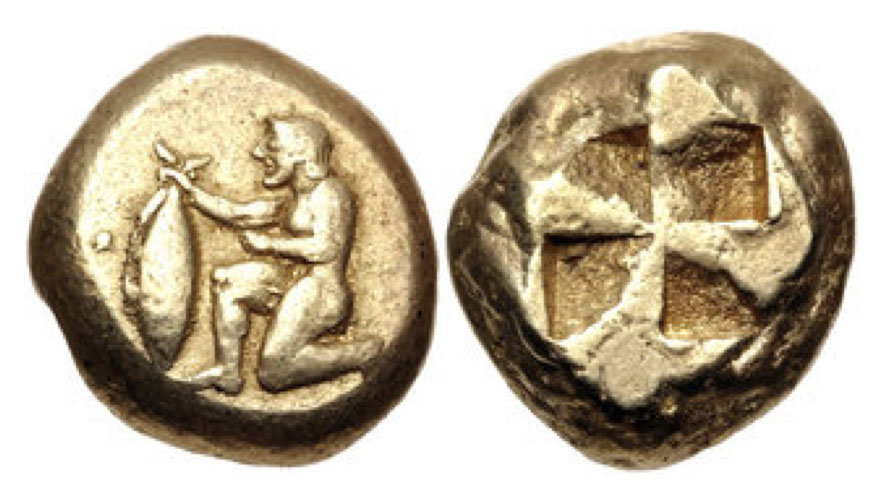 MYSIA, Kyzikos. Circa 550-450 BCE. EL Stater (16mm, 16.03 g). Nude male, kneeling left, holding a tunny fish by the tail in his right hand / Quadrapartite incuse square. Von Fritze I 112; Boston MFA 1487 = Warren 1502; SNG BN 253. Good VF.