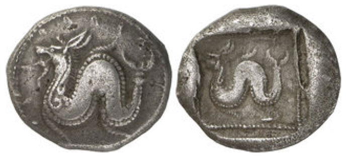 LYCIA. Uncertain Dynast (c.500-440 B.C.), Silver Stater, 9.30g, . Bearded sea-serpent to left. Rev. Bearded sea-serpent to left, within a dotted square border within an incuse square (Rosen 708 (this coin); cf. Hess - Leu 49 (1971), lot 233). Toned, very fine, a fascinating mythical type and of the highest rarity.