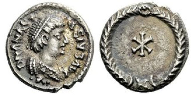 In the name of Anastasius, 491-518. Half-siliqua, Ravenna 493-518, AR 1.38 g. D N ANAST – ASIVS AVG Pearl-diademed and cuirassed bust r.; below, •R•. Rev. Christogram within wreath. Mettlich 43a.