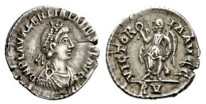 Half-siliqua, Ravenna circa 455, AR 1.05 g. D N PLA VALENTINIANVS P F AVG Pearl-diademed, draped and cuirassed bust r. Rev. VICTOR – IA AVGG Victory advancing l., holding wreath and palm branch; in exergue, R V. C 11 var. RIC 2084.