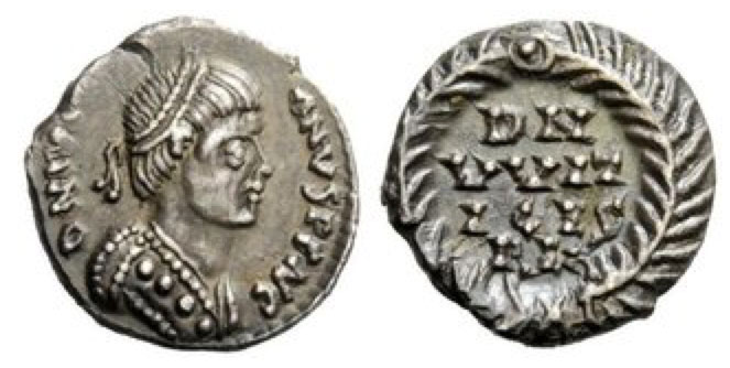 Pseudo-Imperial Coinage. In the name of Justinian I, 527-565. Half siliqua, Ravenna 536-540, AR 1.42 g. DN IVS[TINI] – ANVS PΓ AVC (AV ligate) Pearl-diademed, draped and cuirassed bust r. Rev. DN/VVIT/ICES/REX; all within wreath. BMC Vandals 1. Kraus 1. MIB 57. MEC I, 151 var. (for legend). Metlich 63.
