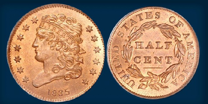 Gem Red 1835 Classic Head Half Cent Offered in Stack's Bowers March 2020 Baltimore Auction