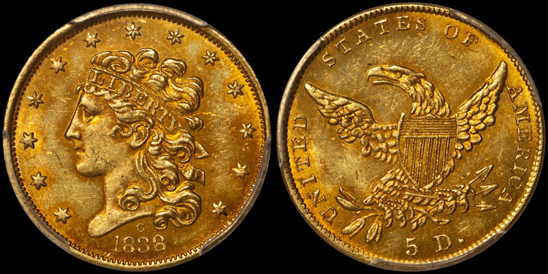 1838-C $5.00 PCGS MS63+ CAC. Images courtesy Doug Winter Numismatics (DWN)