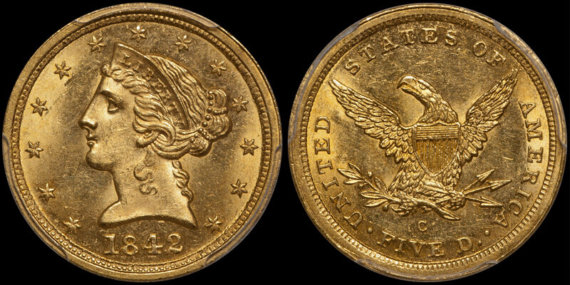 1842-C LARGE DATE $5.00 PCGS MS64 CAC. Images courtesy Doug Winter Numismatics (DWN)