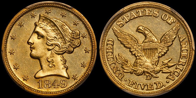 1849-D $5.00 PCGS MS63+ CAC. Images courtesy Douglas Winter Numismatics (DWN)