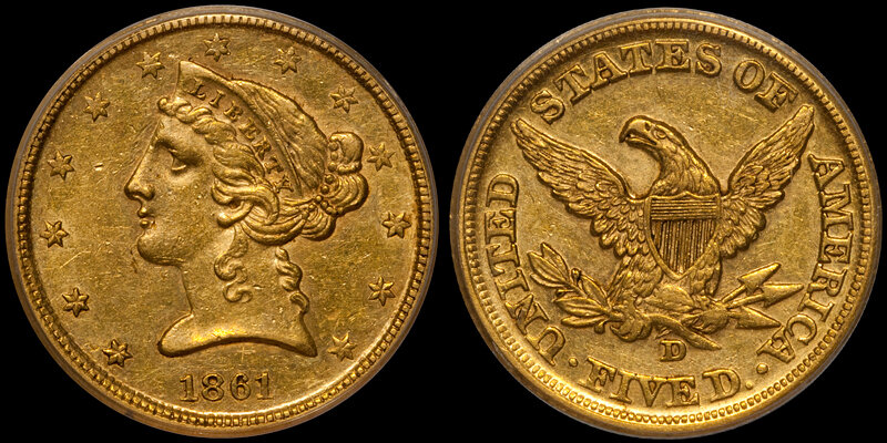 1861-D $5.00 PCGS AU58 CAC, OLD GREEN HOLDER; THE HIGHEST-GRADED CAC-APPROVED EXAMPLE WE HAVE SOLD IN RECENT YEARS. Images courtesy Doug Winter Numismatics (DWN)