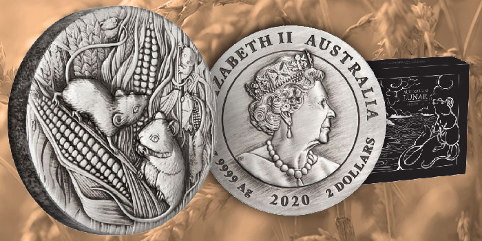 Australia 2020 Lunar Series III Year of the Mouse 2oz Silver Antiqued Coin
