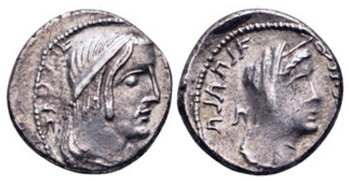 Nabataea, Aretas IV, with Huldu, AR Drachm. Petra, dated RY 2 = 8/7 BCE. Diademed head of Aretas right; [Aramaic het to left] / Veiled and draped bust of Huldu right; Aramaic het to left; date in legend. Meshorer, Nabataea 50. 4.62g, 17mm, 1h.