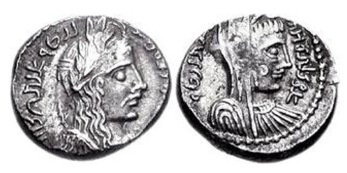 NABATAEA. Malichus II, with Shaqilat. AD 40-70. AR Drachm (4.15 g, 12h). Dated RY 18 (AD 57/8). Laureate and draped bust of Malichus right; date in legend / Veiled and draped bust of Shaqilat right. Meshorer, Nabataea 135 var. (RY 17); Schmitt-Korte II -. Good VF.