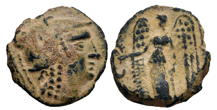 NABATAEA. Anonymous. Late 3rd–early 2nd centuries BCE. Æ (18mm, 3.71 g, 10h). Petra(?) mint. Helmeted head of Athena right / Nike advancing left, holding wreath and cornucopia; in left field, crescent [above Λ?]. Barkay Group 2; HGC 10, 671. VF, green desert patina.