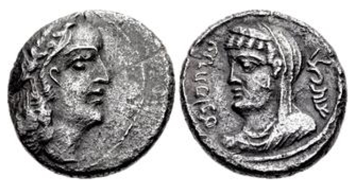 NABATAEA. Obodas II, with Hagaru I. 30-9 BCE. AR Sela' – Drachm (17.5mm, 4.49 g, 12h). Petra mint. Dated RY 16 (15/4 BCE). Wreathed and diademed head of Obodas right / Veiled and draped bust of Hagaru left; date to right. Barkay, King 37 = Schmitt-Korte II 20 = Sofaer 19; Meshorer, Nabataea –. Near EF, find patina, off center on obverse. Extremely rare, only two examples noted by Barkay.