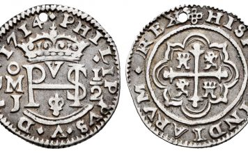 Philip V (1700-1746). 1/2 real. 1714. México. Images courtesy Tauler and Fau Auction
