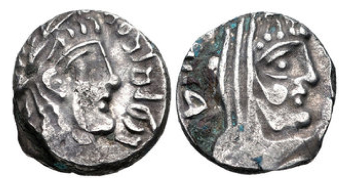 NABATAEA. Rabbel II, with Gamilat. AD 70/1-105/9. AR Drachm (13mm, 2.77 g, 12h). Petra mint. Dated RY 21 (AD 90/1). Laureate and draped bust of Rabbel right / Laureate, veiled, and draped bust of Gamilat right; date in legend behind head. Barkay, Coinage 16; Meshorer, Nabataea 153. Good VF, some deposits. Very rare with legible date