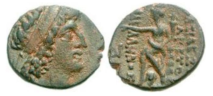 NABATAEA. Aretas III. 84-71 BCE. Æ 20mm (6.46 g, 1h). Damascus mint. Diademed head right / Tyche of Damascus seated left, holding cornucopia; monogram to left. Meshorer, Nabataea 6. Near EF.