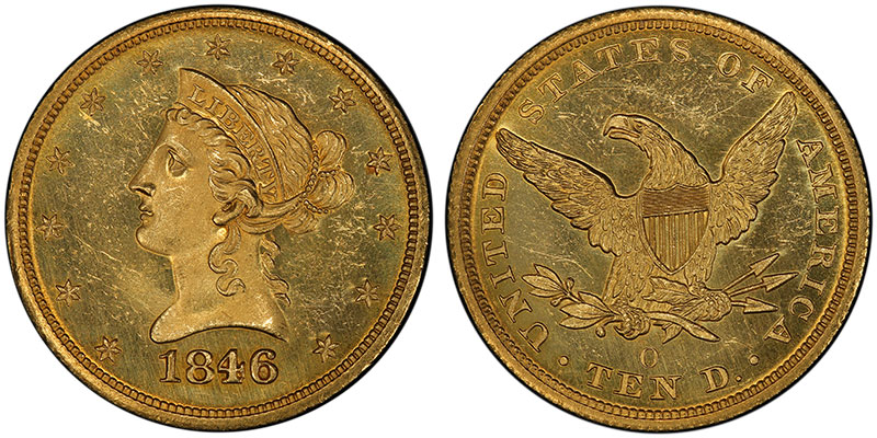 1846-O $10, the so-called Overdate, sold for $10.50 in 1890 and $48,300 in 2000. PCGS MS64. Ex: Thomas Cleneay