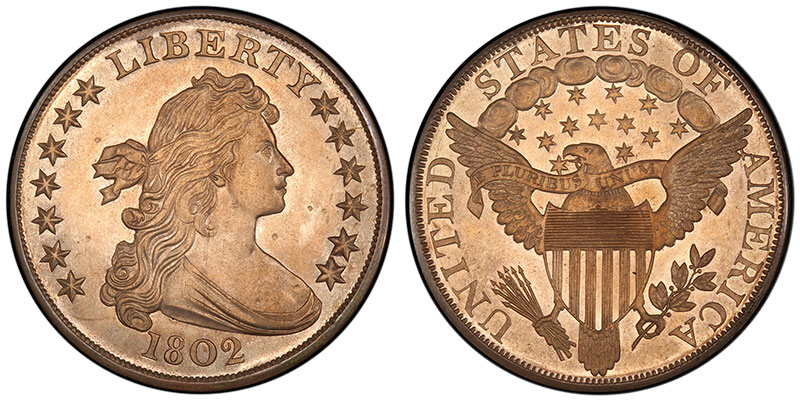 1802 $1 Proof, sold in $12.50 in 1890 and $329,000 in 2015. PCGS PR64. Ex: Thomas Cleneay