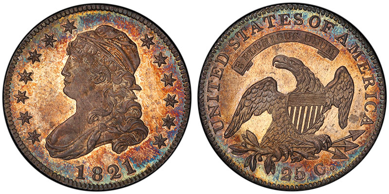 1821 25C Proof, sold for $24 in 1890 and $235,000 in 2015. PCGS PR67. Ex: Thomas Cleneay