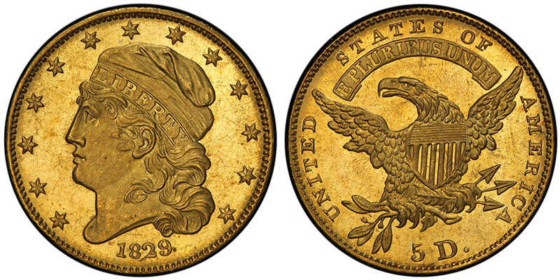 1829 $5 Small Size, sold for $72.50 in 1890 and $881,250 in 2016. PCGS MS65+. Ex: Thomas Cleneay