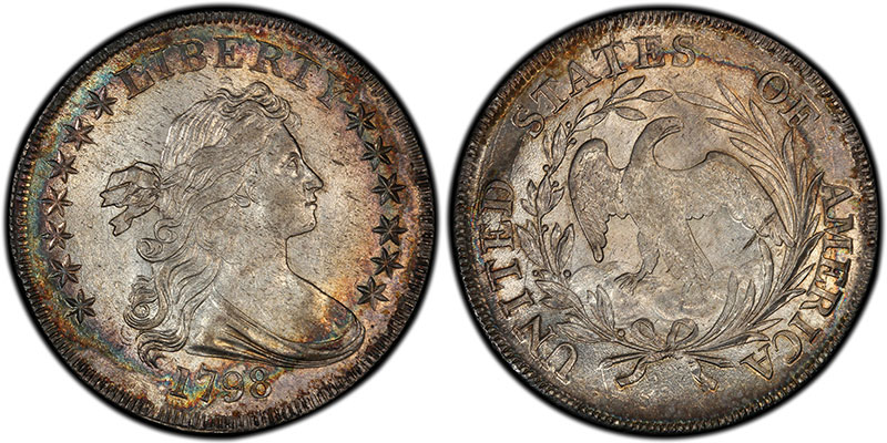 1798 $1 Small Eagle, 13 Stars, sold for $32.50 in 1890 and $258,500 in 2013. PCGS MS63. Ex: Thomas Cleneay