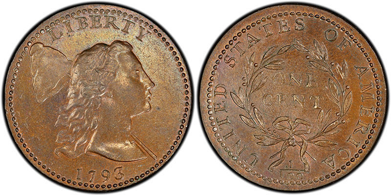 1793 Liberty Cap Cent, sold for $200 in 1890 and $319,000 in 1996. PCGS MS64+BN. Ex: Thomas Cleneay