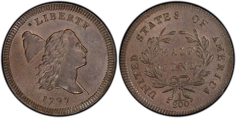 """1797 """"Centered Head"""" Half Cent, sold for $40 in 1890 and $293,750 in 2016. PCGS MS66BN. Ex: Thomas Cleneay"""