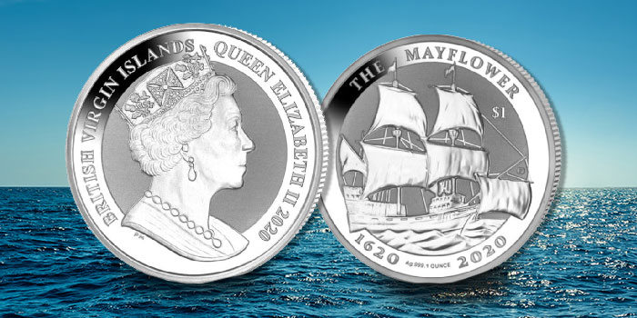 Reverse Frosted Silver Bullion Coin Honors the 400th Anniversary of the Mayflower