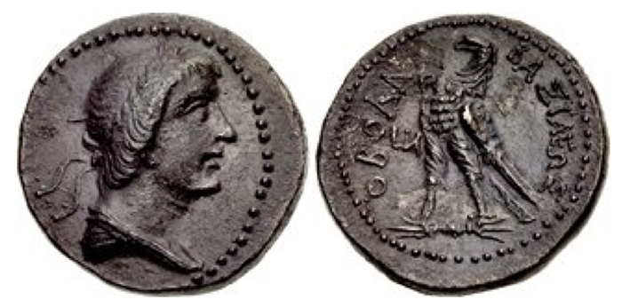NABATAEA. Obodas I. Circa 96-86 BCE. AR Drachm (16mm, 3.47 g, 1h). Ptolemaic standard. Petra mint(?). Dated RY 11 (86 BCE). Diademed and draped bust right / BAΣIΛEΩΣ OBOΔA, eagle standing left on thunderbolt; LIA (date) to left. Unpublished. Good VF, dark find patina. Extremely rare, one of two known.