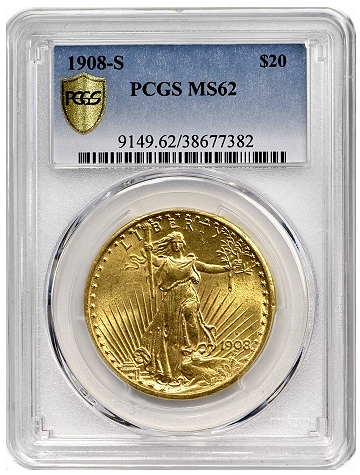 1908-S Saint-Gaudens Double Eagle. MS-62 (PCGS)