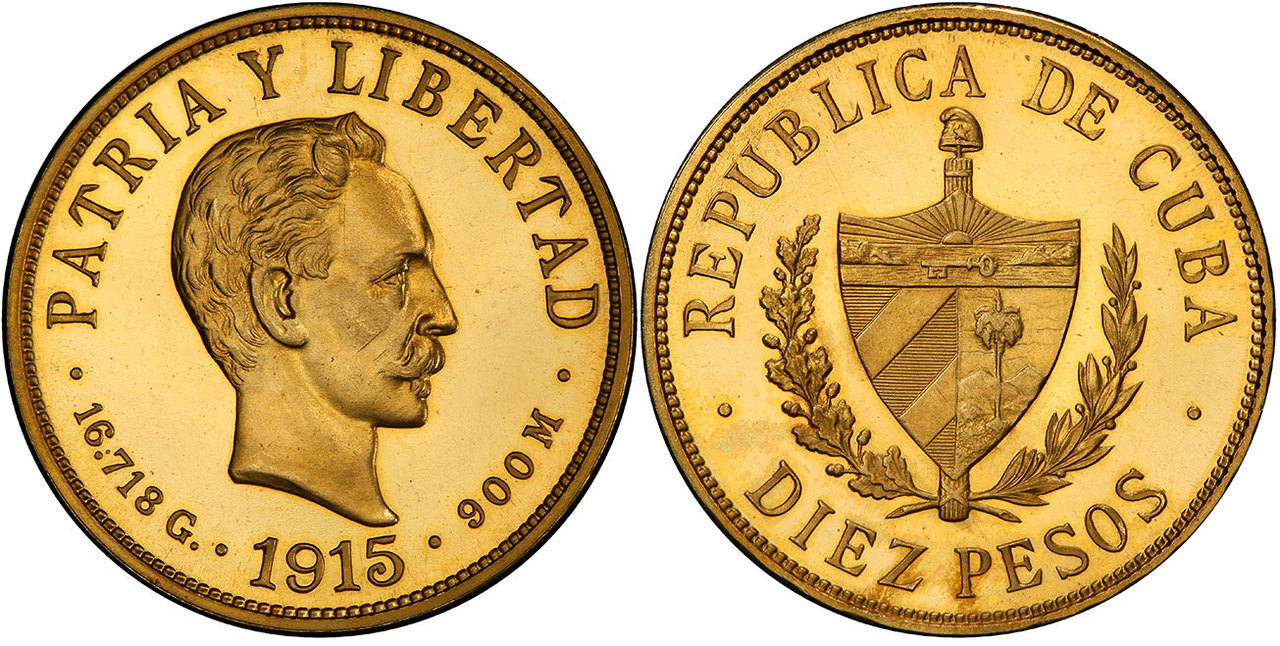 CUBA. Jose Marti. (First Republic, 1902-1962). 1915-(P) AV 10 Pesos. PCGS PR65 Cameo. By Charles E. Barber. U.S. Mint, Philadelphia. Courtesy Atlas Numismatics