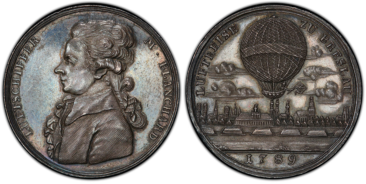 GERMAN STATES. Breslau. 1789 AR Ballooning Medal. PCGS MS62. Courtesy Atlas Numismatics