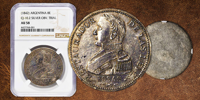 Unique 1842 Argentina 8 Escudos Coin Die Trial in Silver