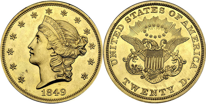 Unique 1849 $20 Gold Coin. Photo Credit: Smithsonian Institution
