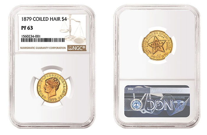 1879 Coiled Hair $4 graded NGC PF 63
