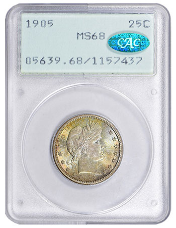 1905 Barber 25¢ PCGS MS68 CAC