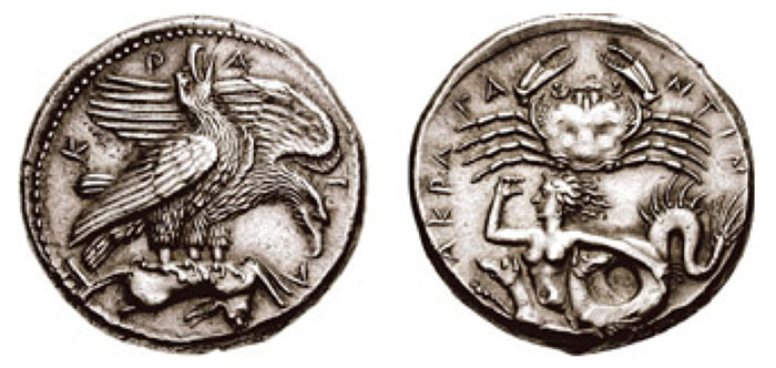SICILY, Akragas. Circa 414-413 BCE. AR Tetradrachm (17.25 gm, 5h). A-K-R-A-G around a pair of eagles standing right on the upturned body of a dead hare; the nearer eagle, with closed wings, screaming with its head reared and beak wide open; the further, flapping its wings and lowering its head to tear at the prey / AKRA-G-A-NTIN-[ON] around a crab with open claws seen from above; below, Skylla swimming left, her right hand raised to shade her eyes, left arm trailing behind, and her hair streaming in the wind.