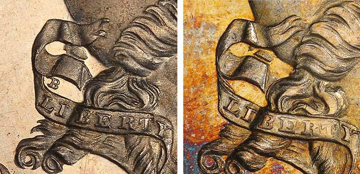 A comparison of J-746b Standard Silver half dollar pattern coin with a J-742a (pictured on the left) that has the B on the ribbon. Courtesy Mike Byers