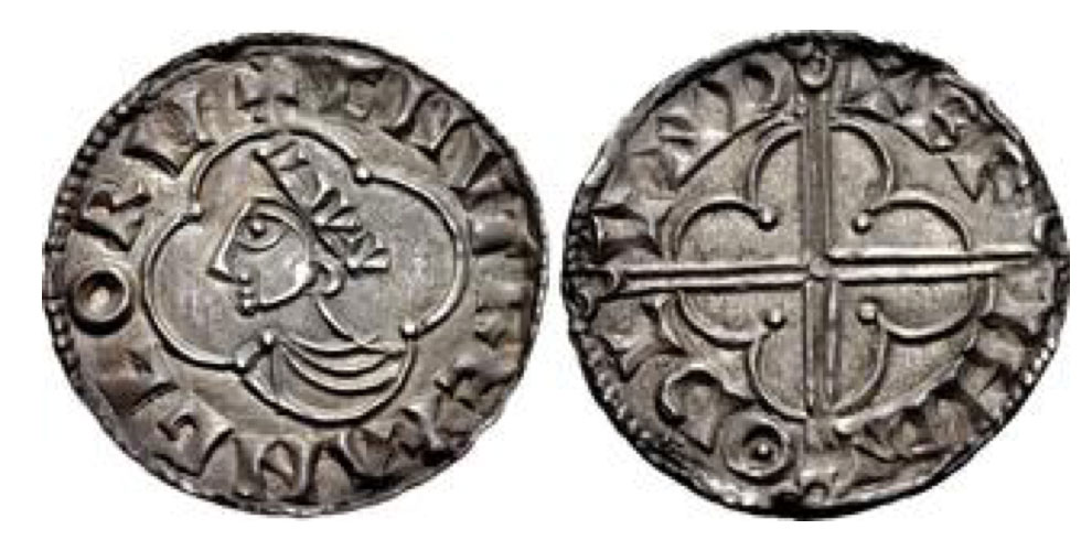 Kings of All England. Cnut. 1016-1035. AR Penny (19mm, 1.11 g, 6h). Quatrefoil type (BMC viii, Hild. E). London mint; Beorhtnoth, moneyer. Struck circa 1016-1023. + CNVT REX ANGLORV, crowned and draped bust left within quatrefoil / + BR IHTN ΘD L VND, voided long cross with triple-crescent ends and pellet at center; all over quatrefoil. Grierson, Coins of Medieval Europe, p. 72; SCBI 14 (Copenhagen), 2200 (same dies);