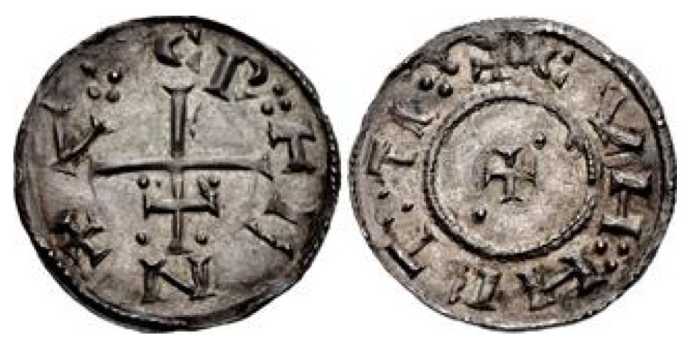 Anglo-Viking (Danish Northumbria). . Circa 900-905. AR Penny (21mm, 1.41 g, 8h). Class IIe/Cunneti type. York mint. C N V T R E ·:· :· arranged around inverted patriarchal cross with pellets in upper angles / + CVH :· HET :·TI :·, short cross pattée with pellets in second and third quarters. Grierson, Coins of Medieval Europe 106; L&S class IIe; SCBI 29 (Merseyside) 289 (same dies). Classical Numismatic Group Triton XXIII. 14 January 2020. Lot:1229. Realized: 650 USD.