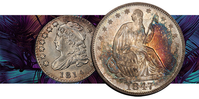 Eye-Catching Toned Seated Liberty Half at David Lawrence Rare Coins Auction