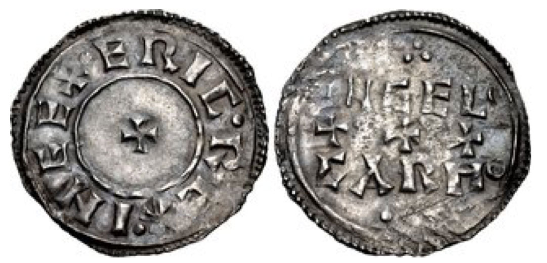 Anglo-Viking (Hiberno-Norse Northumbria). Eric Bloodaxe. First reign, 947-948. AR Penny (21mm, 1.42 g, 2h). Small cross/Horizontal-Trefoil (HT1) type. York mint; Ingelgar, moneyer. + · ERIC · REX · INEE, small cross pattée / INGEL/GAR MO in two lines; three crosses pattée between, trefoil above and below. CTCE Group VII, o = SCBI 16 (Norweb), 128 (same dies); North 549; SCBC 1028. Good VF, small scratches on reverse, lightly toned. Extremely rare.
