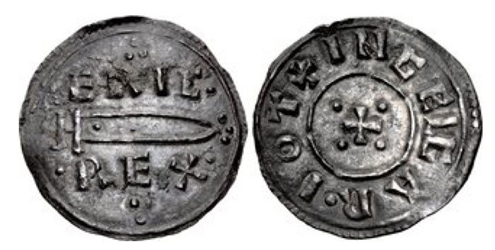 Anglo-Viking (Hiberno-Norse Northumbria). Eric Bloodaxe. Second reign, 952-954. AR Penny (20.5mm, 1.35 g, 10h). Sword type. York mint; Ingelgar, moneyer. ·ERIC·/·REX· in two lines; between, sword right and triple-pellets; triple-pellets above and below / + INGELGAR · IOT, cross pattée, pellets in quarters. CTCE Group XI, b-m; SCBI 4 (Copenhagen), 649–51 var. (rev. legend); BMS 1278–9 var. (same); North 550; SCBC 1030. Near EF, toned. A few deposits, slight bend in flan. Extremely rare and the most desirable of all Viking coins.