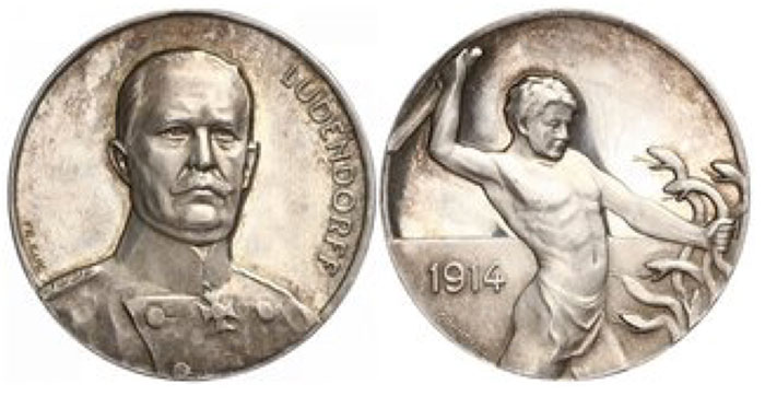 Silver medal 1914, by Eue and Grünthal. For General Erich von Ludendorff. Portrait in Uniform half right/ Naked warrior fighting against Hydra. Zetzmann 4063. 34.5 mm, 18.11 g